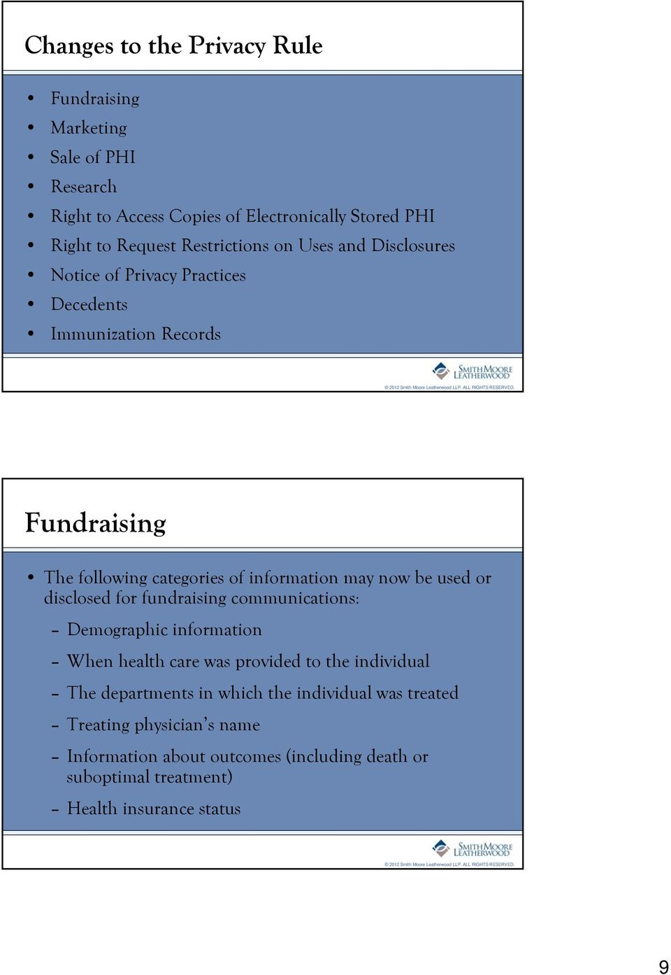 may now be used or disclosed for fundraising communications: Demographic information When health care was provided to the individual The departments