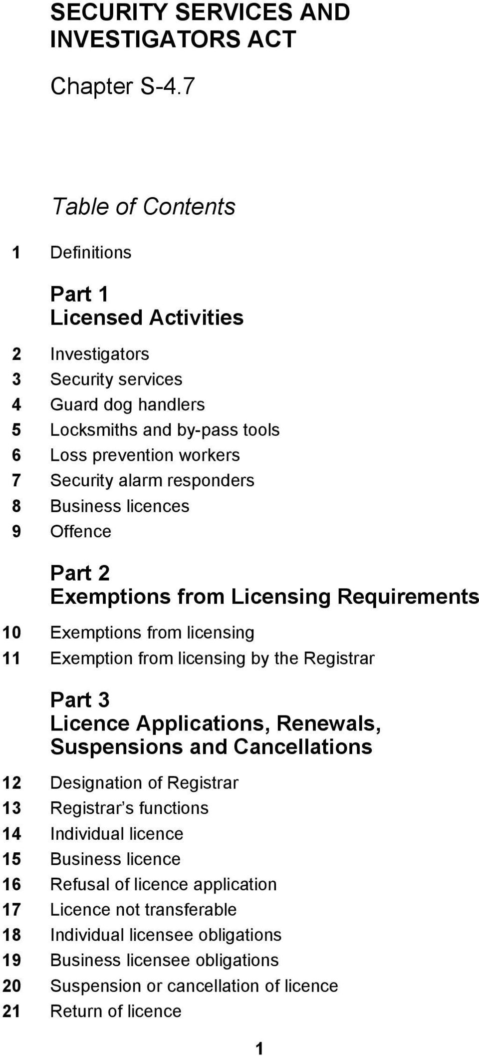 Part 3 Licence Applications, Renewals, Suspensions and Cancellations 12 Designation of Registrar 13 Registrar s functions 14 Individual licence 15 Business licence 16 Refusal