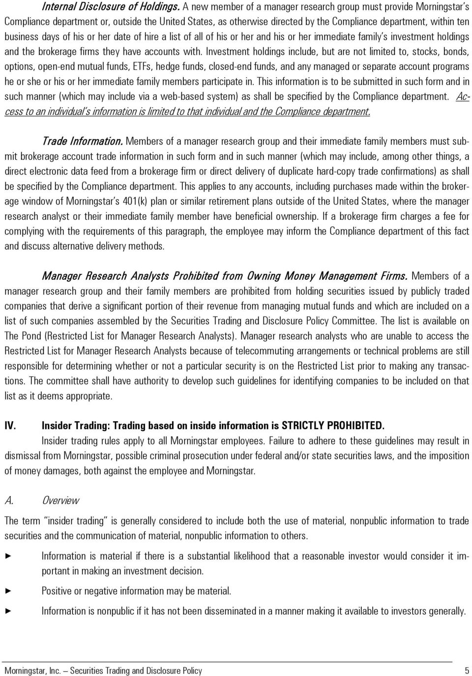 Morningstar, Inc  Securities Trading and Disclosure Policy Amended