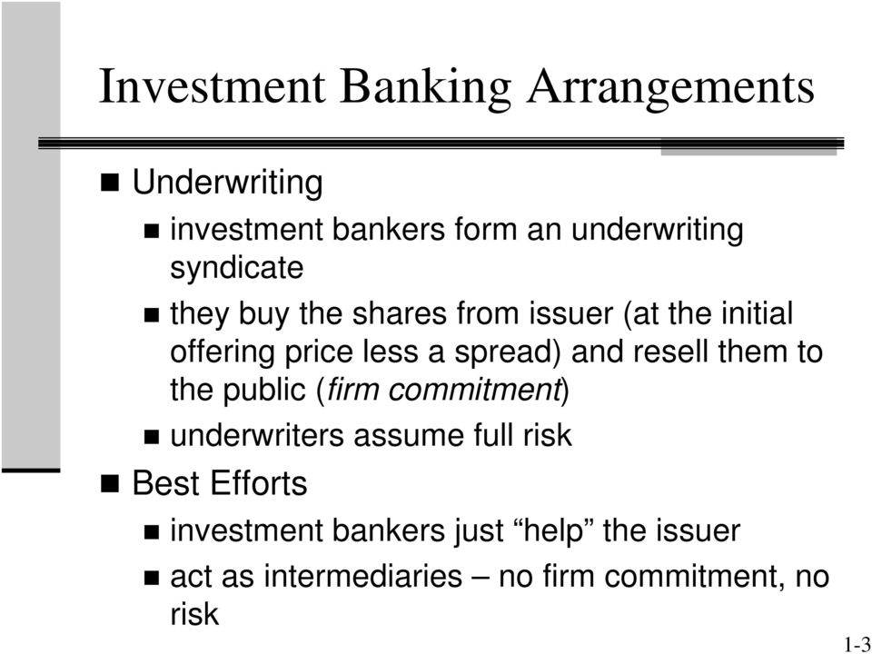 and resell them to the public (firm commitment) underwriters assume full risk Best