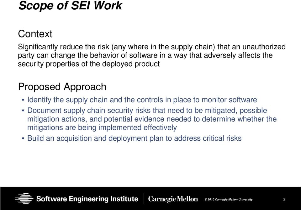 controls in place to monitor software Document supply chain security risks that need to be mitigated, possible mitigation actions, and potential