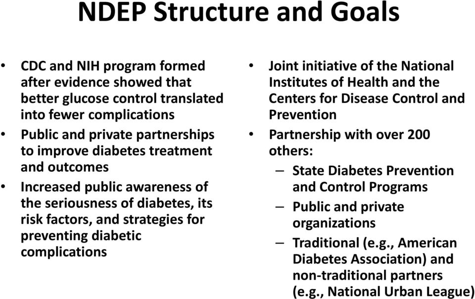 diabetic complications Joint initiative of the National Institutes of Health lhand the Centers for Disease Control and Prevention Partnership with over 200 others: