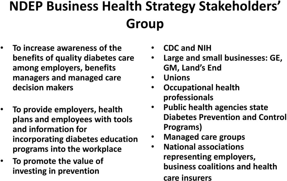 To promote the value of investing in prevention CDC and NIH Large and small businesses: GE, GM, Land s End Unions Occupational health professionals Public health