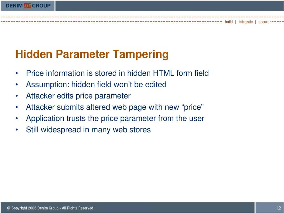 parameter Attacker submits altered web page with new price Application