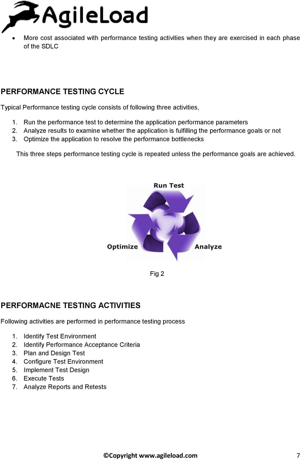 Optimize the application to resolve the performance bottlenecks This three steps performance testing cycle is repeated unless the performance goals are achieved.