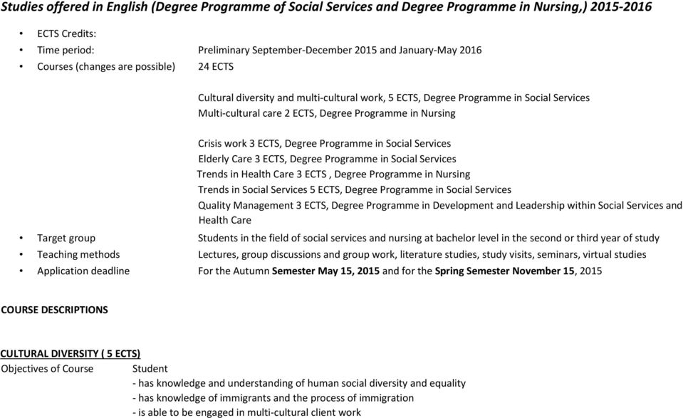 Degree Programme in Social Services Elderly Care 3 ECTS, Degree Programme in Social Services Trends in Health Care 3 ECTS, Degree Programme in Nursing Trends in Social Services 5 ECTS, Degree