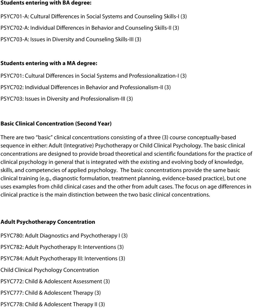 Behavior and Professionalism-II (3) PSYC703: Issues in Diversity and Professionalism-III (3) Basic Clinical Concentration (Second Year) There are two basic clinical concentrations consisting of a