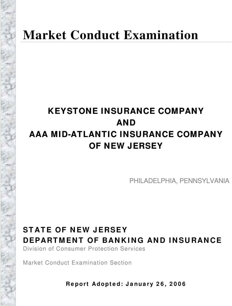 JERSEY DEPARTMENT OF BANKING AND INSURANCE Division of Consumer Protection