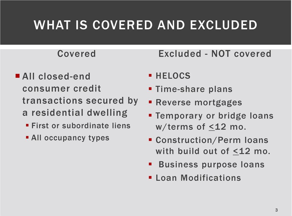 covered HELOCS Time-share plans Reverse mortgages Temporary or bridge loans w/terms of <12