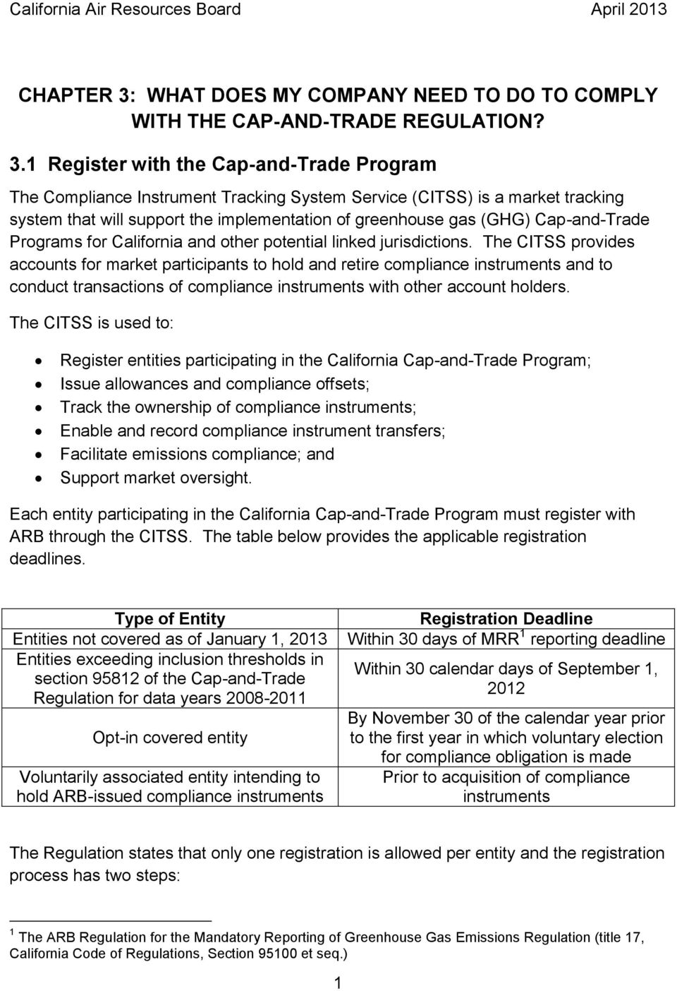 1 Register with the Cap-and-Trade Program The Compliance Instrument Tracking System Service (CITSS) is a market tracking system that will support the implementation of greenhouse gas (GHG)