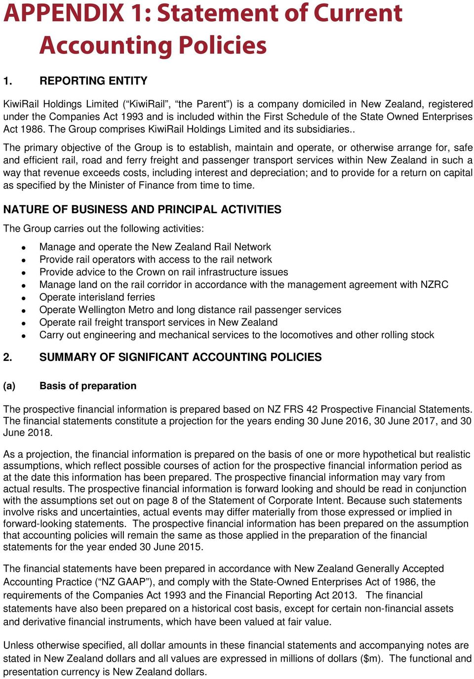 State Owned Enterprises Act 1986. The Group comprises KiwiRail Holdings Limited and its subsidiaries.