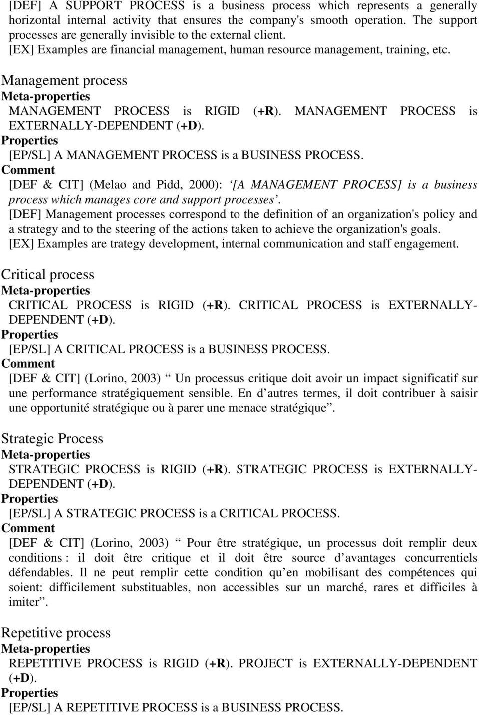 Management process MANAGEMENT PROCESS is RIGID (+R). MANAGEMENT PROCESS is EXTERNALLY-DEPENDENT (+D). [EP/SL] A MANAGEMENT PROCESS is a BUSINESS PROCESS.