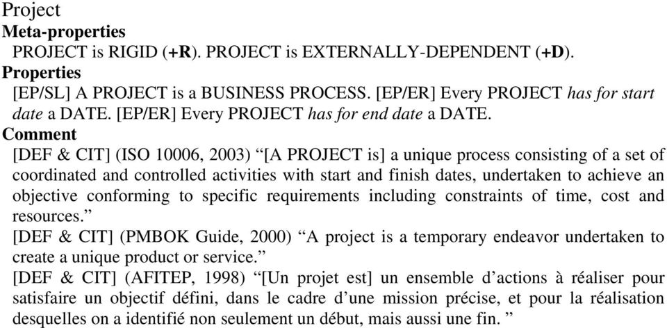 [DEF & CIT] (ISO 10006, 2003) [A PROJECT is] a unique process consisting of a set of coordinated and controlled activities with start and finish dates, undertaken to achieve an objective conforming