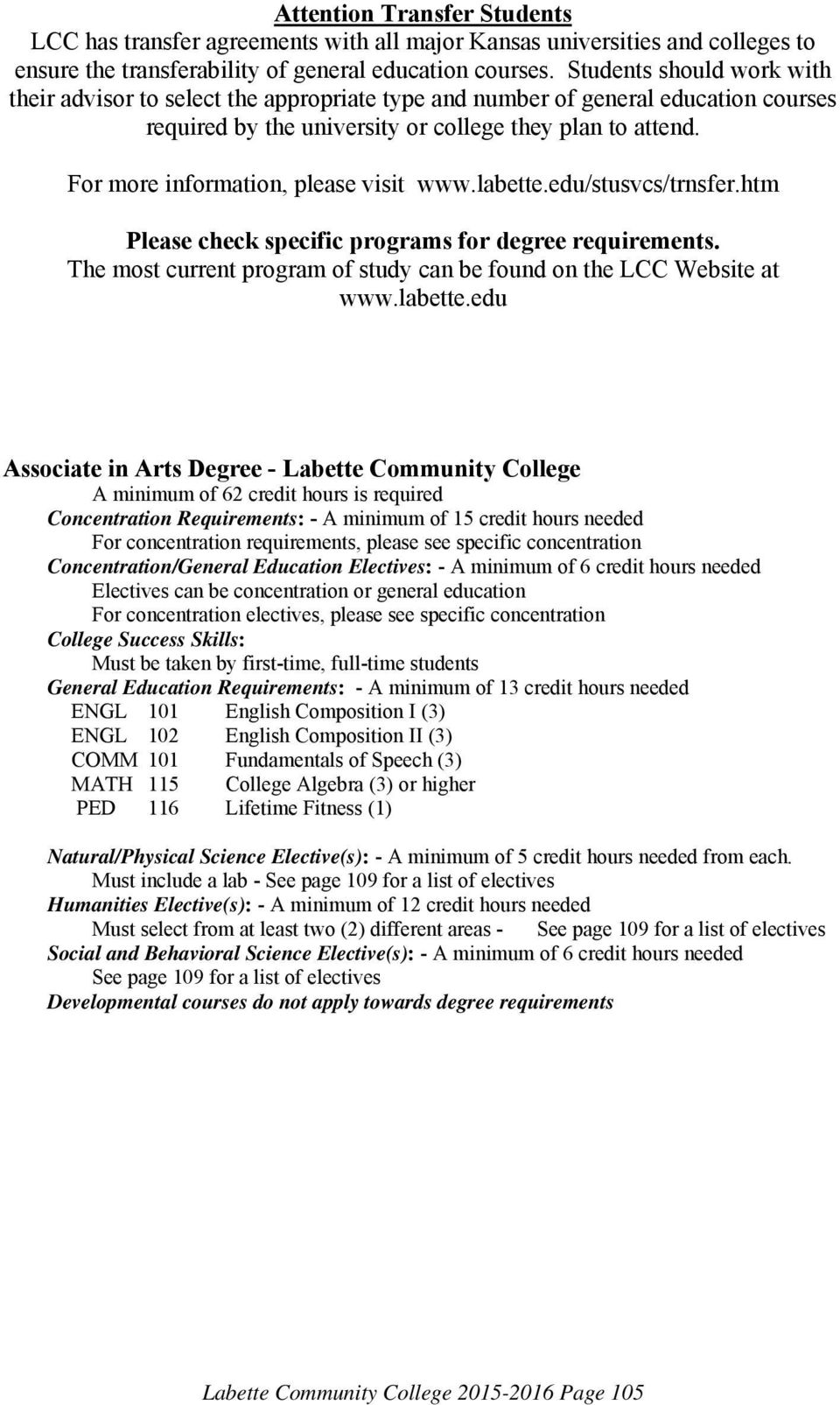 For more information, please visit www.labette.edu/stusvcs/trnsfer.htm Please check specific programs for degree requirements. The most current program of study can be found on the LCC Website at www.