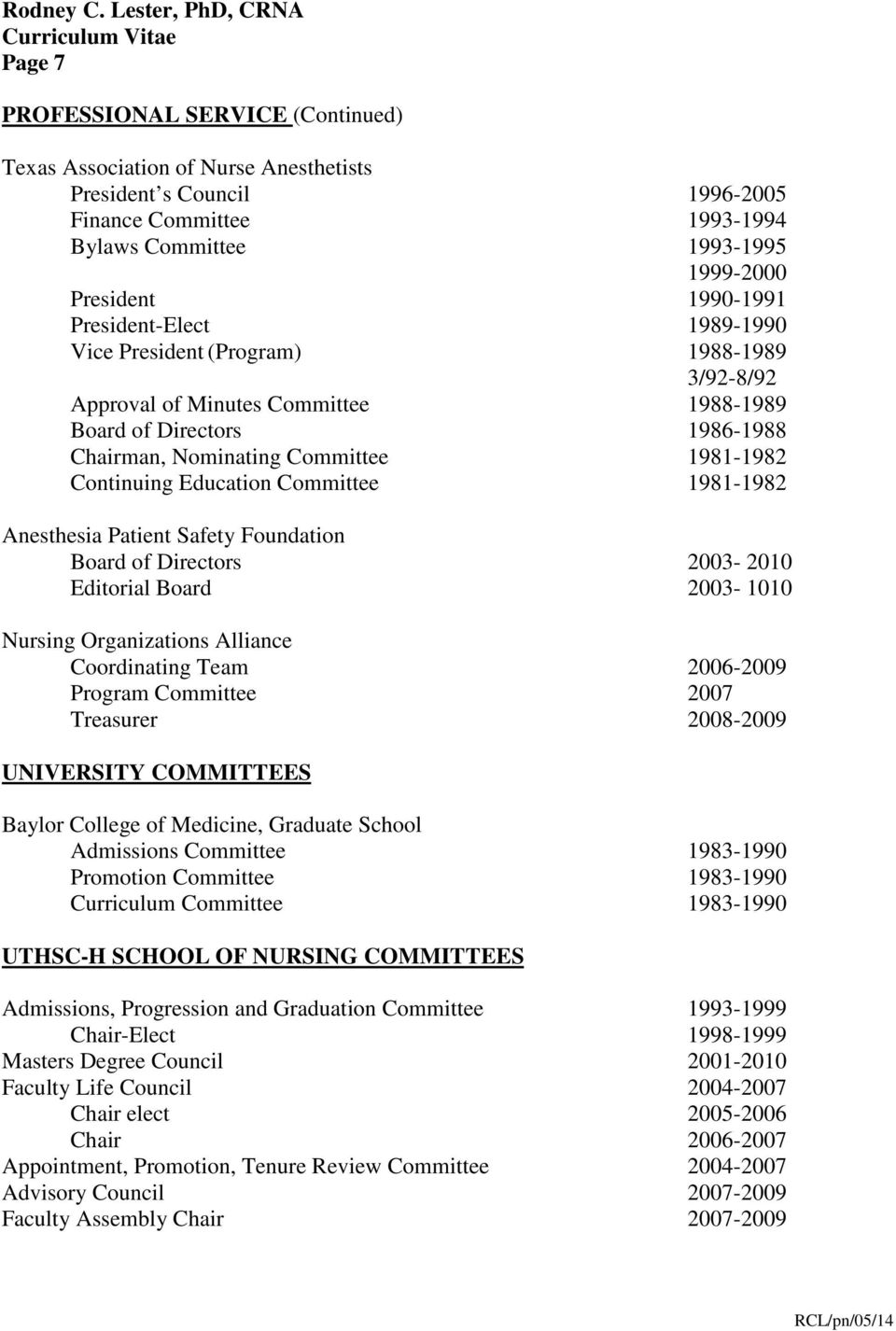 Education Committee 1981-1982 Anesthesia Patient Safety Foundation Board of Directors 2003-2010 Editorial Board 2003-1010 Nursing Organizations Alliance Coordinating Team 2006-2009 Program Committee