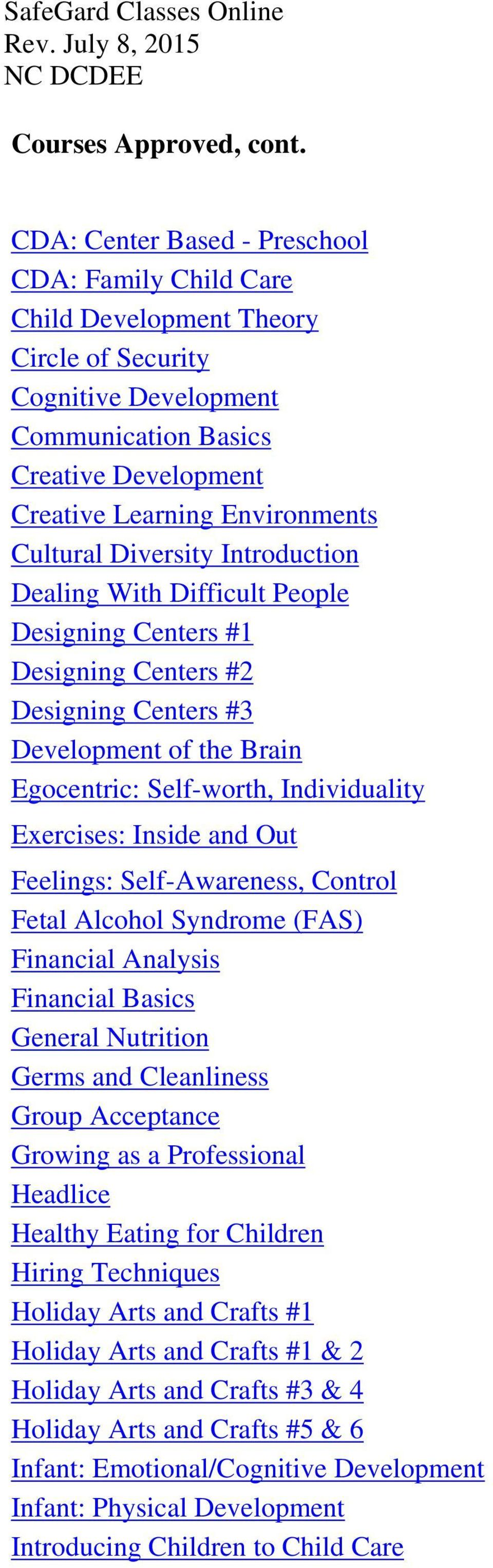 Inside and Out Feelings: Self-Awareness, Control Fetal Alcohol Syndrome (FAS) Financial Analysis Financial Basics General Nutrition Germs and Cleanliness Group Acceptance Growing as a Professional