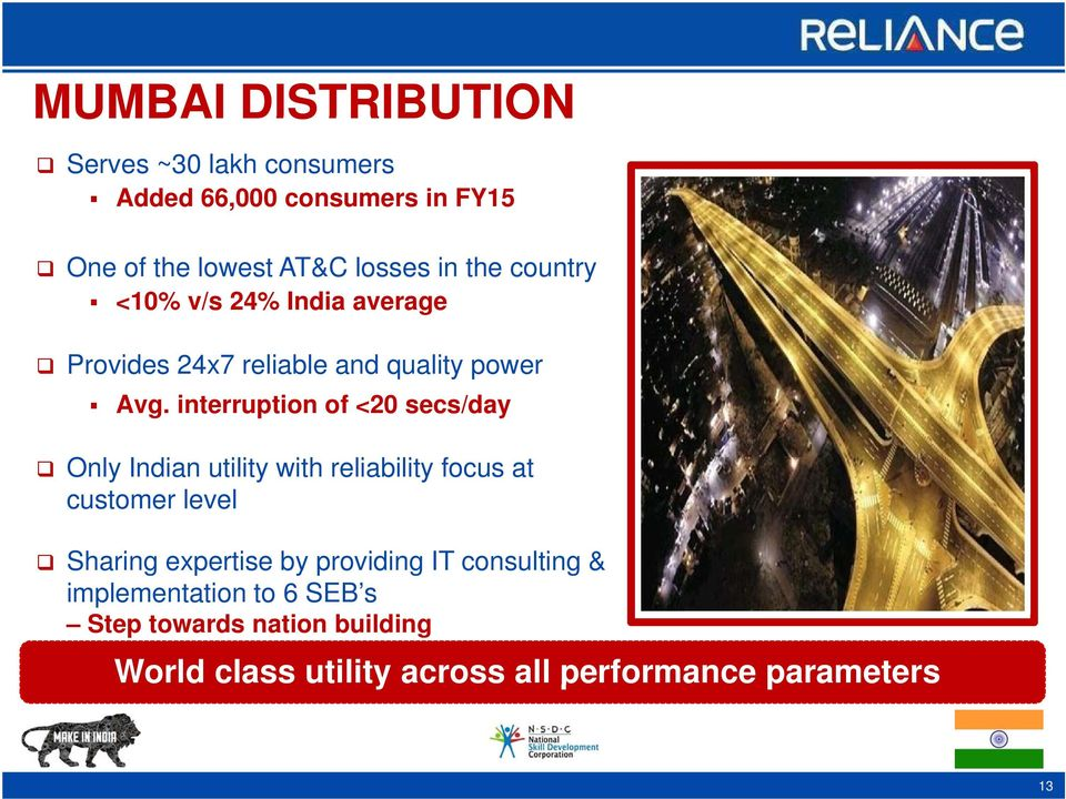 interruption of <20 secs/day Only Indian utility with reliability focus at customer level Sharing expertise by