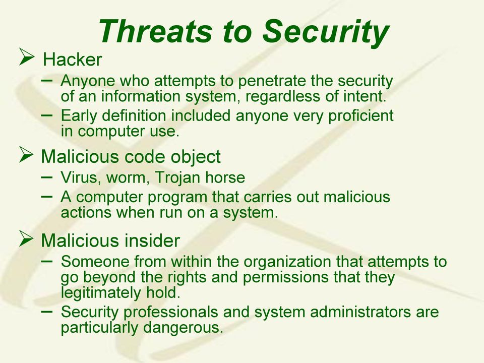 Malicious code object Virus, worm, Trojan horse A computer program that carries out malicious actions when run on a system.