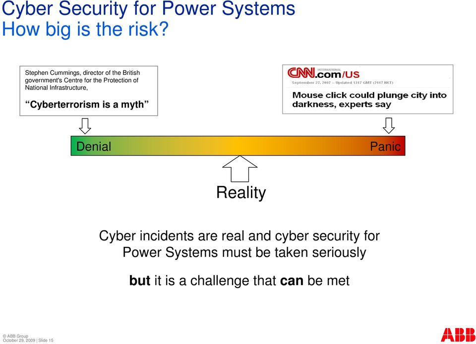 National Infrastructure, Cyberterrorism is a myth Denial Panic Reality Cyber incidents