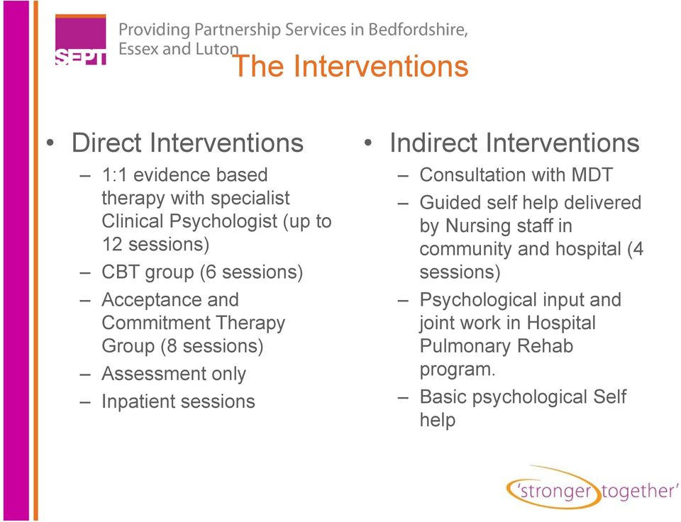 hospital (4 CBT group (6 sessions) sessions) Acceptance and Psychological input and Commitment Therapy joint work in