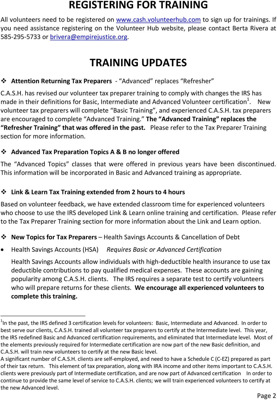 TRAINING UPDATES Attention Returning Tax Preparers Advanced replaces Refresher C.A.S.H.