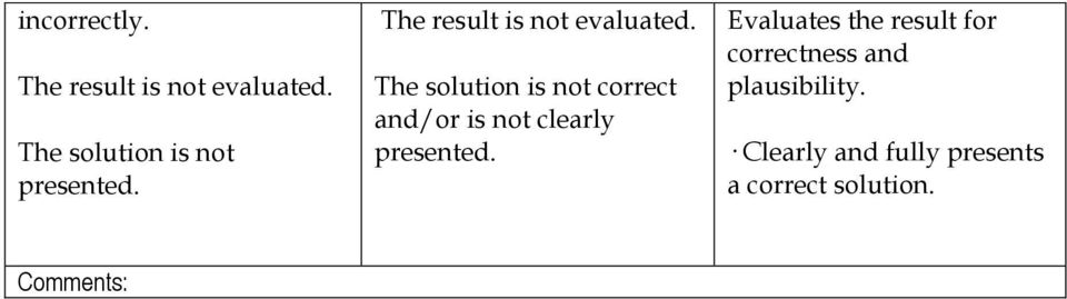 The solution is not correct and/or is not clearly presented.