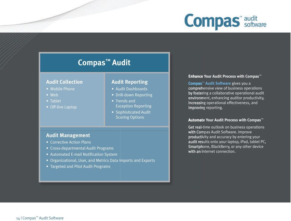 Enhance Your Audit Process with Compas Compas Audit Software gives you a comprehensive view of business operations by fostering a collaborative operational audit environment, enhancing auditor