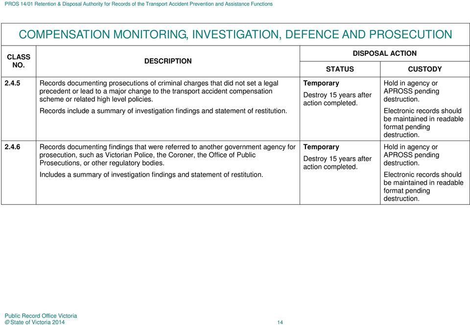 high level policies. Records include a summary of investigation findings and statement of restitution. 2.4.