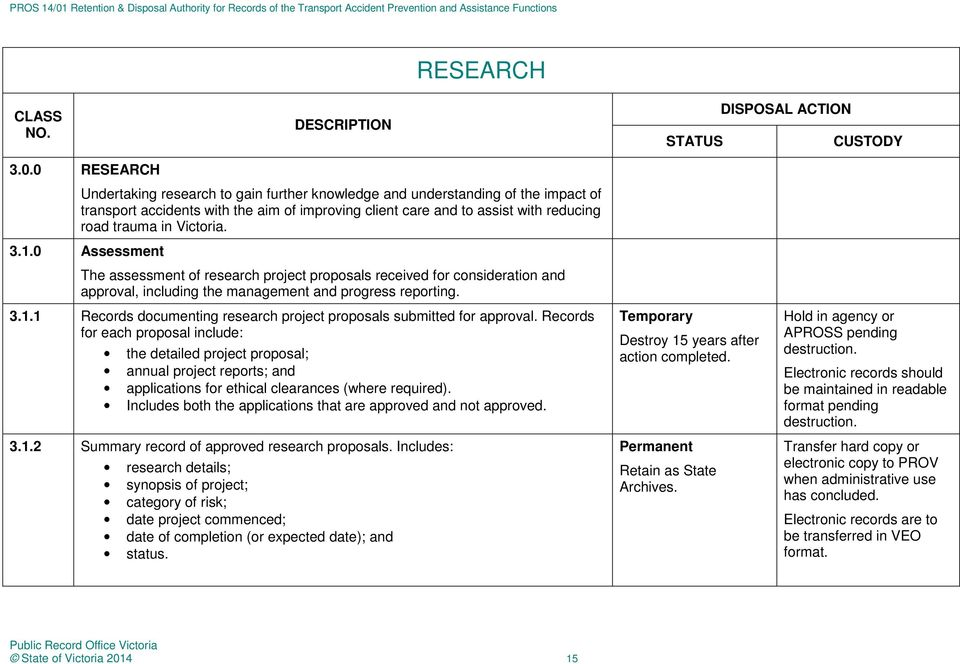 Victoria. 3.1.0 Assessment The assessment of research project proposals received for consideration and approval, including the management and progress reporting. 3.1.1 Records documenting research project proposals submitted for approval.