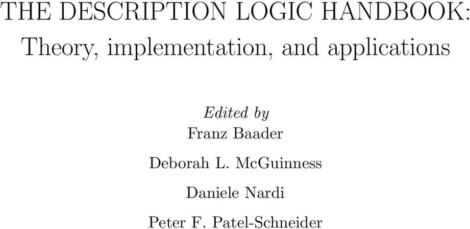 applications Edited by Franz Baader