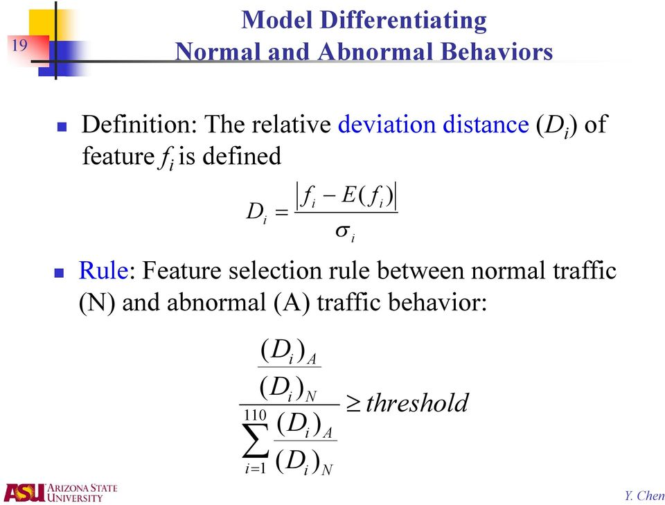 Rule: Feature selection rule between normal traffic (N) and abnormal (A)