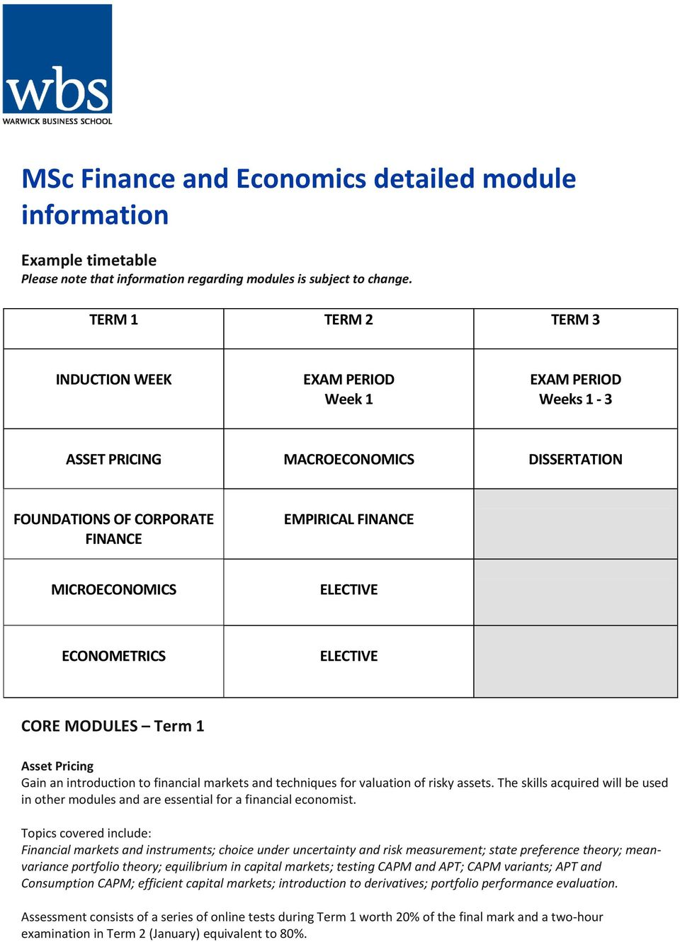 ECONOMETRICS ELECTIVE CORE MODULES Term 1 Asset Pricing Gain an introduction to financial markets and techniques for valuation of risky assets.