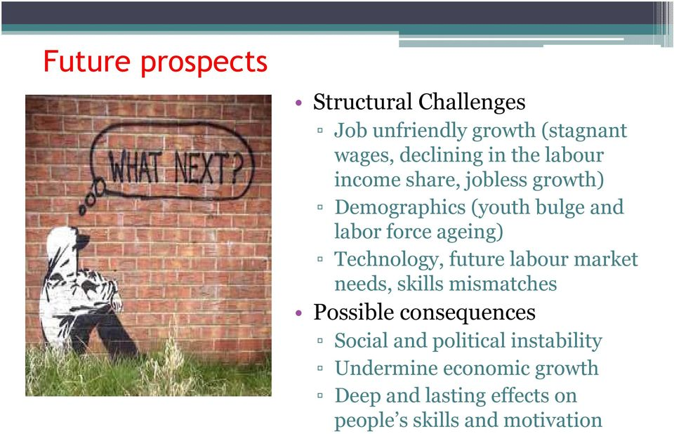 Technology, future labour market needs, skills mismatches Possible consequences Social and
