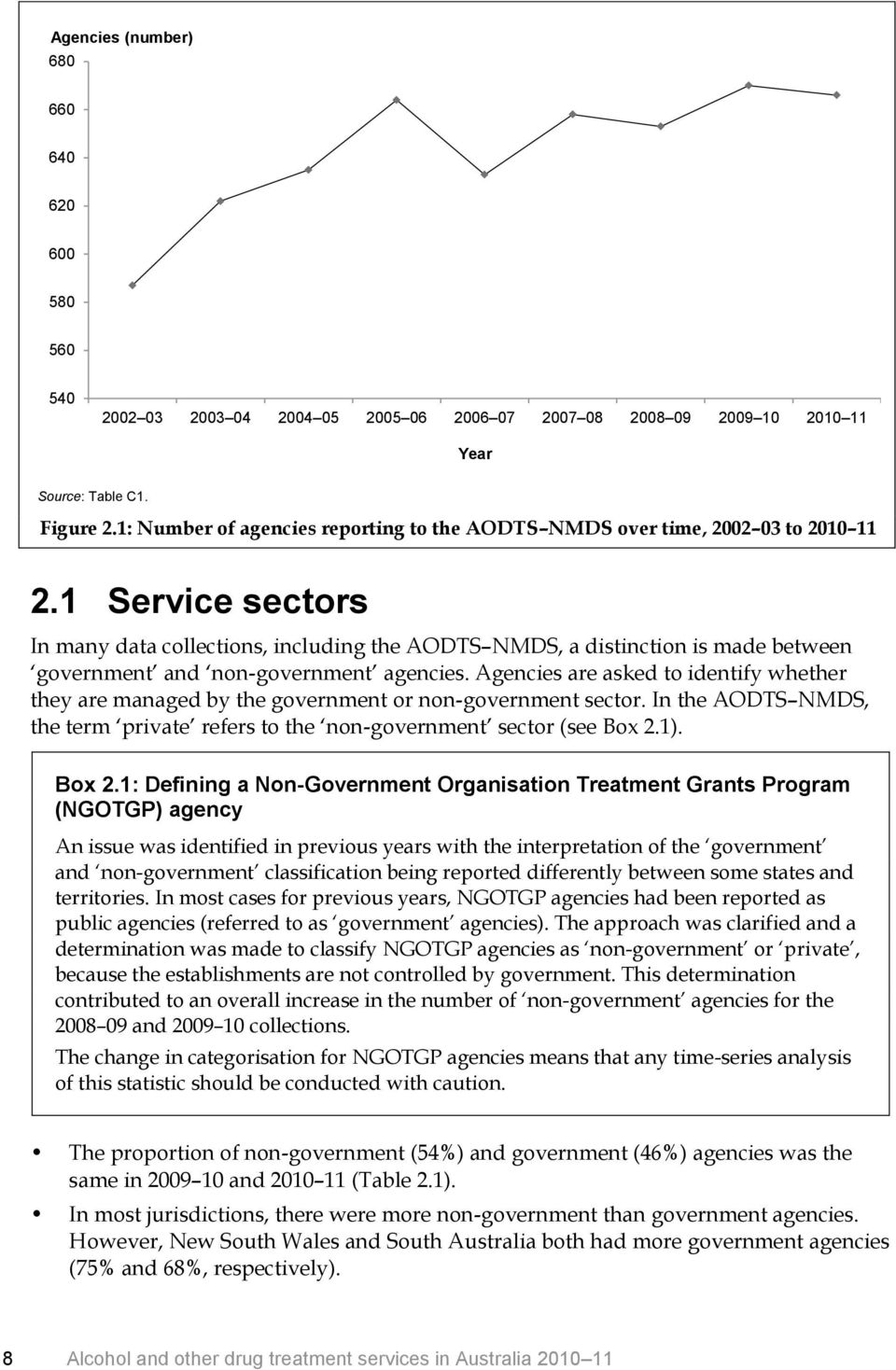 1 Service sectors In many data collections, including the AODTS NMDS, a distinction is made between government and non-government agencies.
