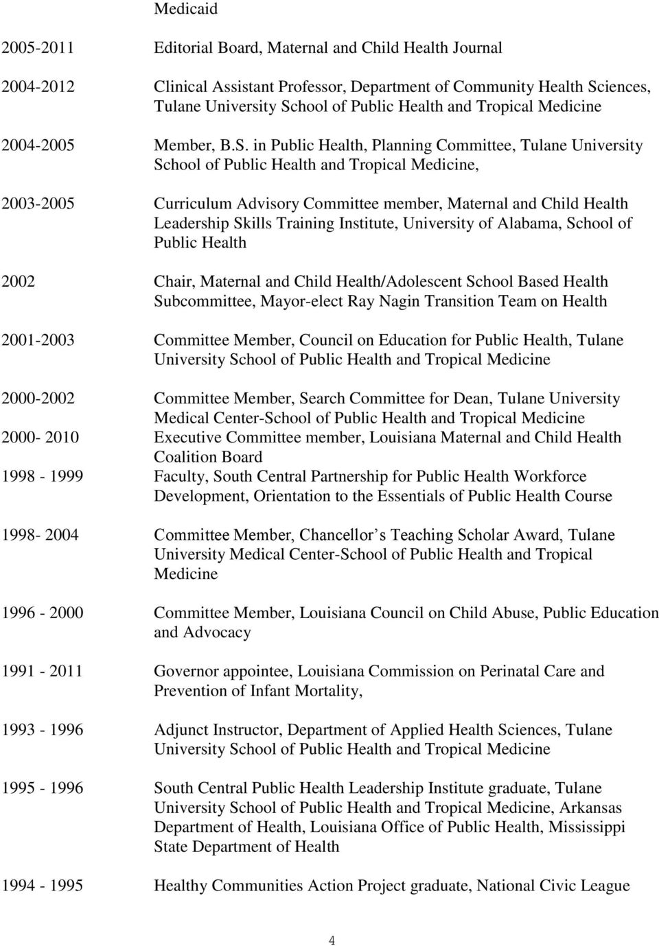 in Public Health, Planning Committee, Tulane University School of Public Health and Tropical Medicine, 2003-2005 Curriculum Advisory Committee member, Maternal and Child Health Leadership Skills