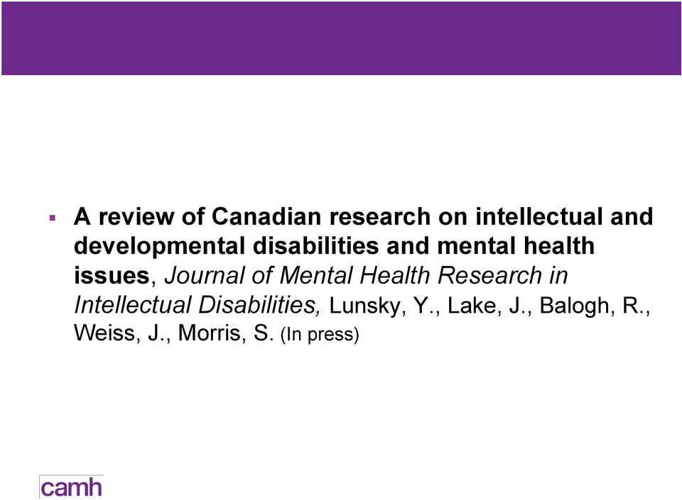 Journal of Mental Health Research in Intellectual
