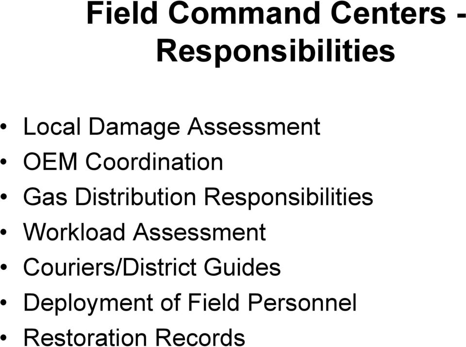 Responsibilities Workload Assessment