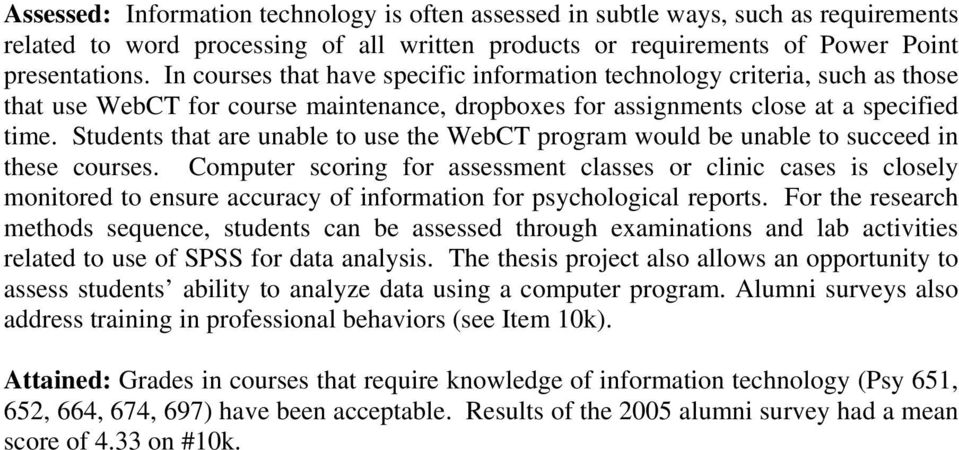 Students that are unable to use the WebCT program would be unable to succeed in these courses.