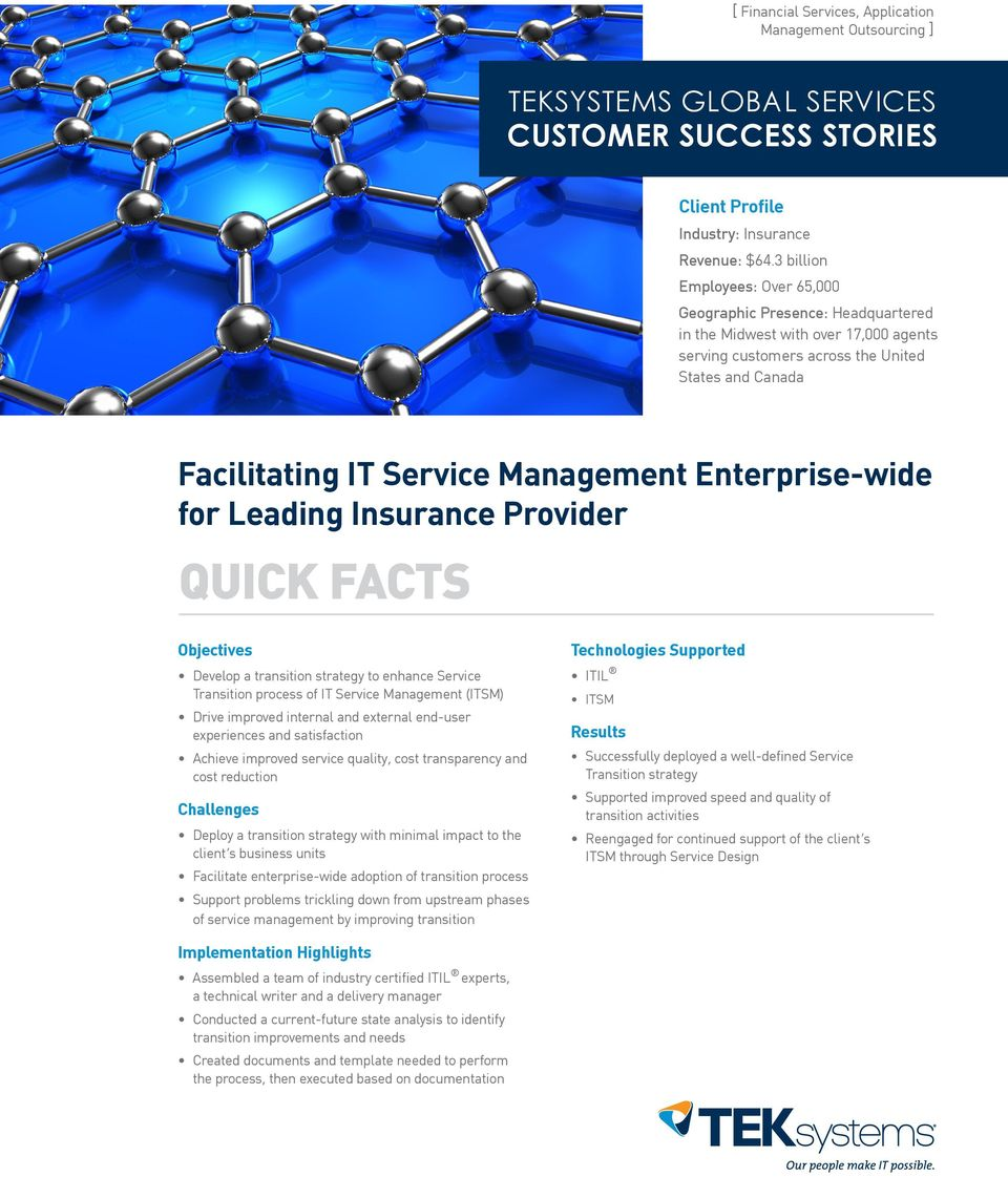 Enterprise-wide for QUICK FACTS Objectives Develop a transition strategy to enhance Service Transition process of IT Service Management (ITSM) Drive improved internal and external end-user