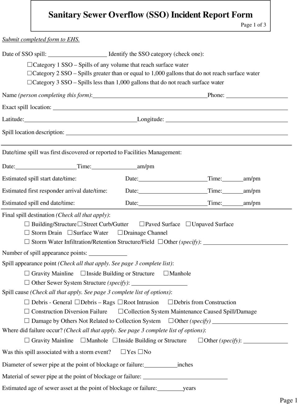 than or equal to 1,000 that do not reach surface water Category 3 SSO Spills less than 1,000 that do not reach surface water Page 1 of 3 Name (person completing this form): Phone: Exact spill