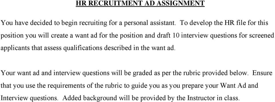 applicants that assess qualifications described in the want ad.