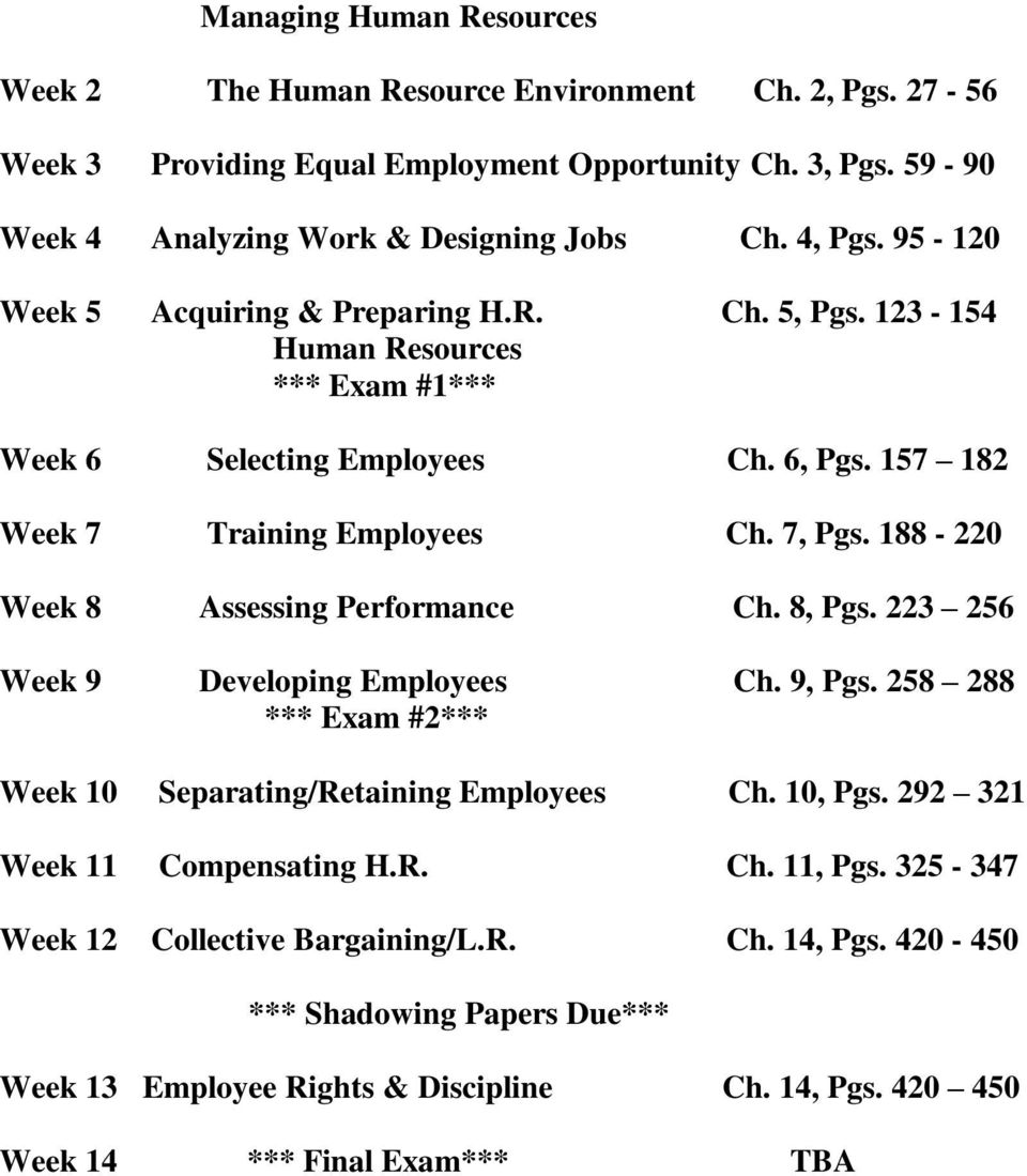 188-220 Week 8 Assessing Performance Ch. 8, Pgs. 223 256 Week 9 Developing Employees Ch. 9, Pgs. 258 288 *** Exam #2*** Week 10 Separating/Retaining Employees Ch. 10, Pgs.