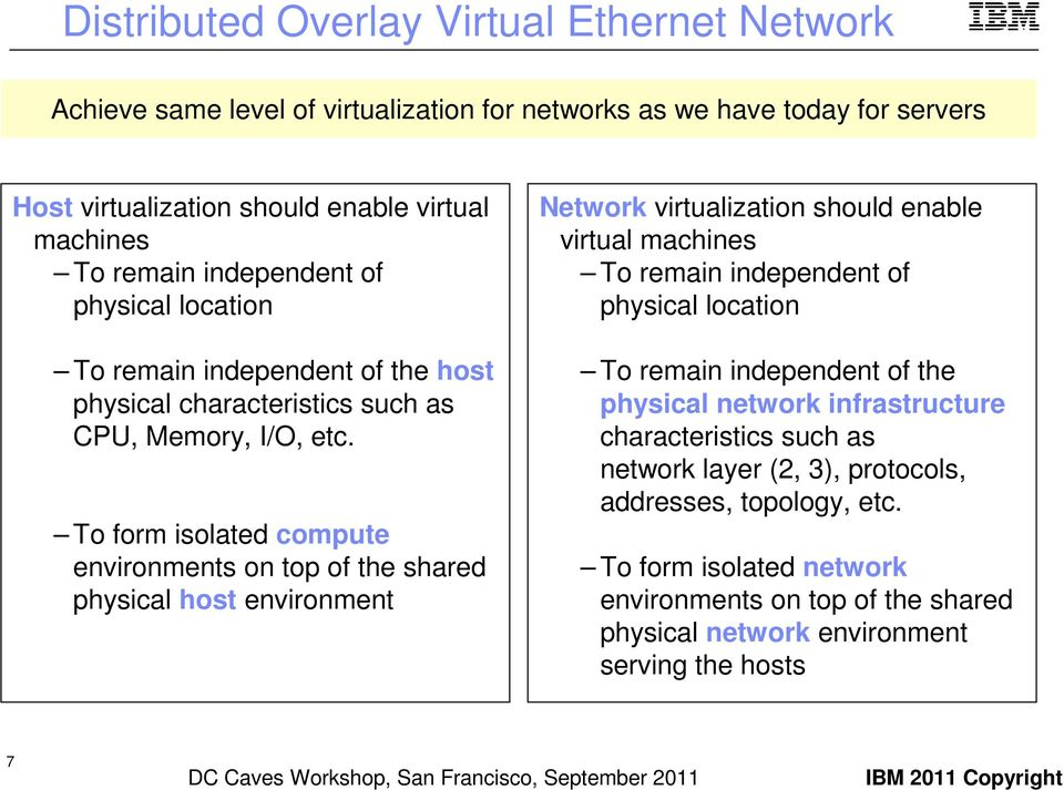 To form isolated compute environments on top of the shared physical host environment Network virtualization should enable virtual machines To remain independent of physical location To