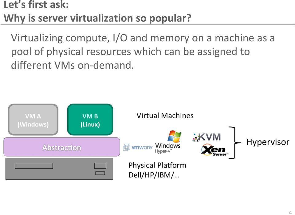 Virtualizing compute, I/O and memory on a machine