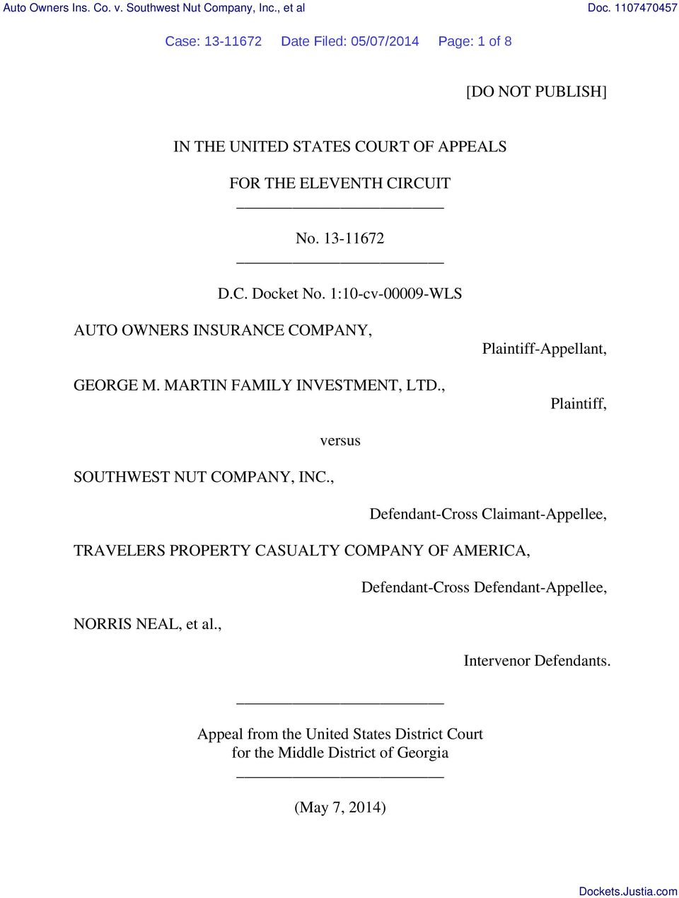 1:10-cv-00009-WLS AUTO OWNERS INSURANCE COMPANY, GEORGE M. MARTIN FAMILY INVESTMENT, LTD., Plaintiff-Appellant, Plaintiff, SOUTHWEST NUT COMPANY, INC.