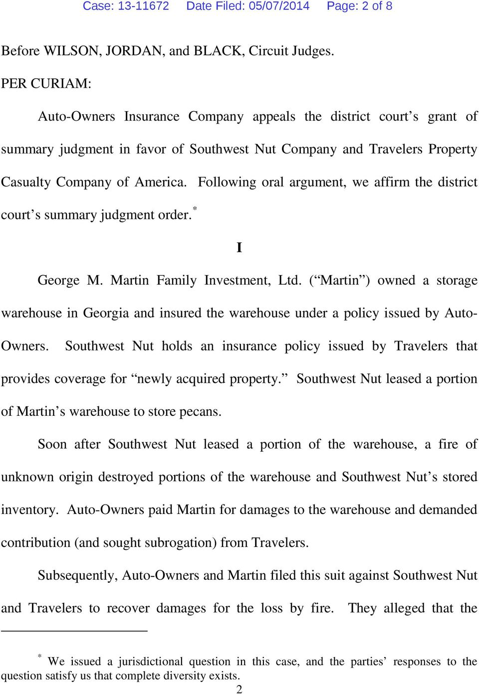 Following oral argument, we affirm the district court s summary judgment order. * I George M. Martin Family Investment, Ltd.