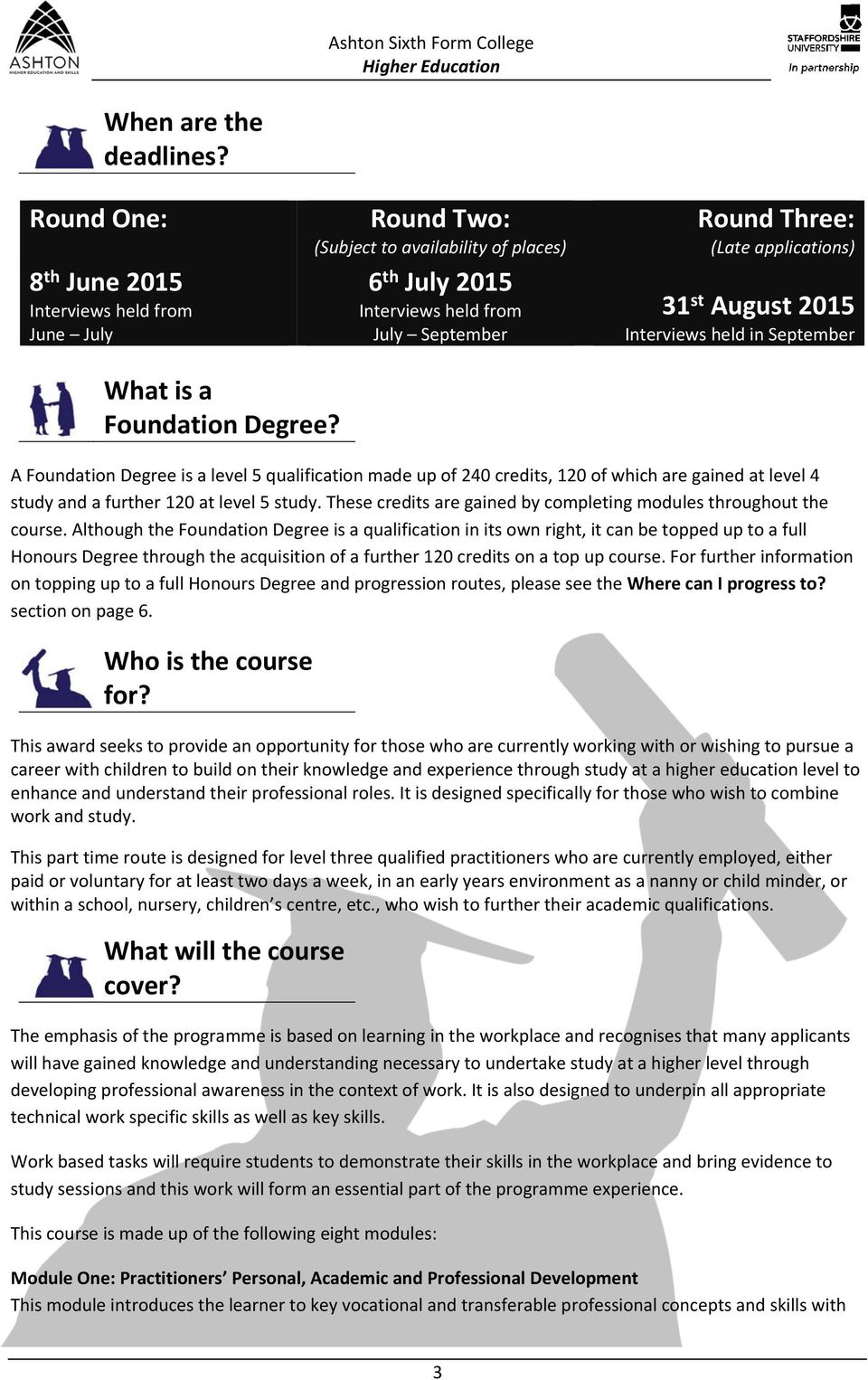 Interviews held in September What is a Foundation Degree?