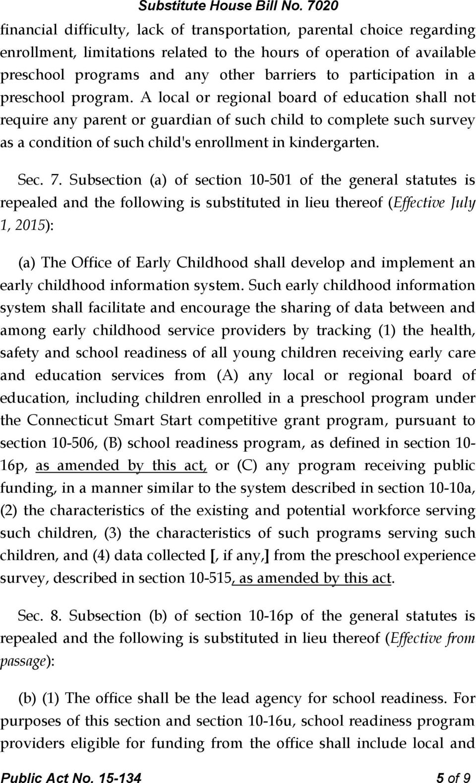 A local or regional board of education shall not require any parent or guardian of such child to complete such survey as a condition of such child's enrollment in kindergarten. Sec. 7.