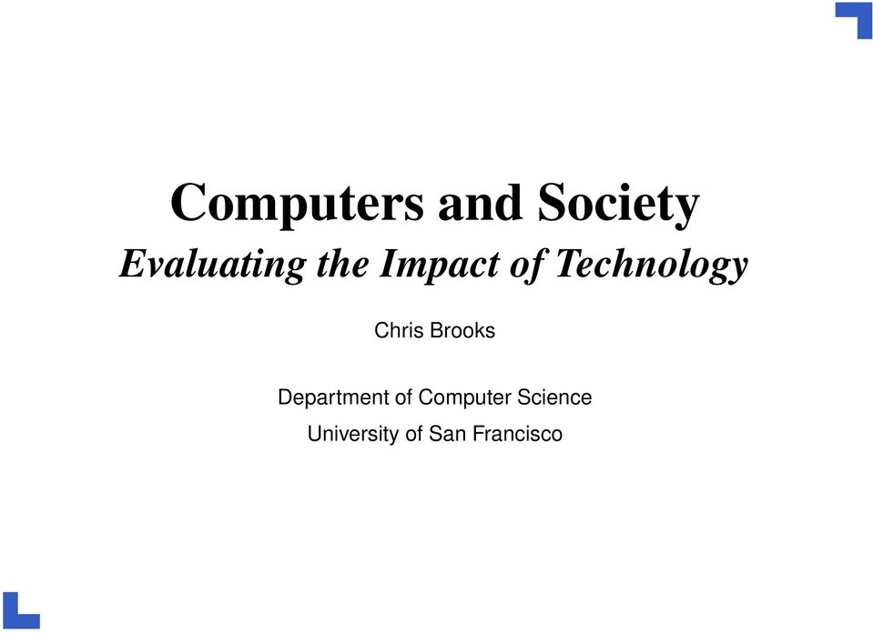 Brooks Department of Computer