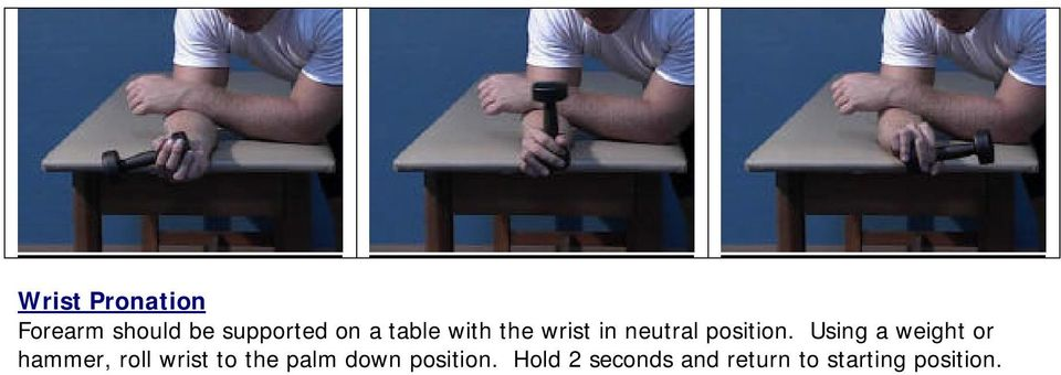 Using a weight or hammer, roll wrist to the palm